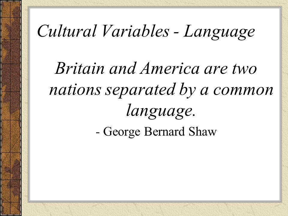 Cultural Variables - Language
