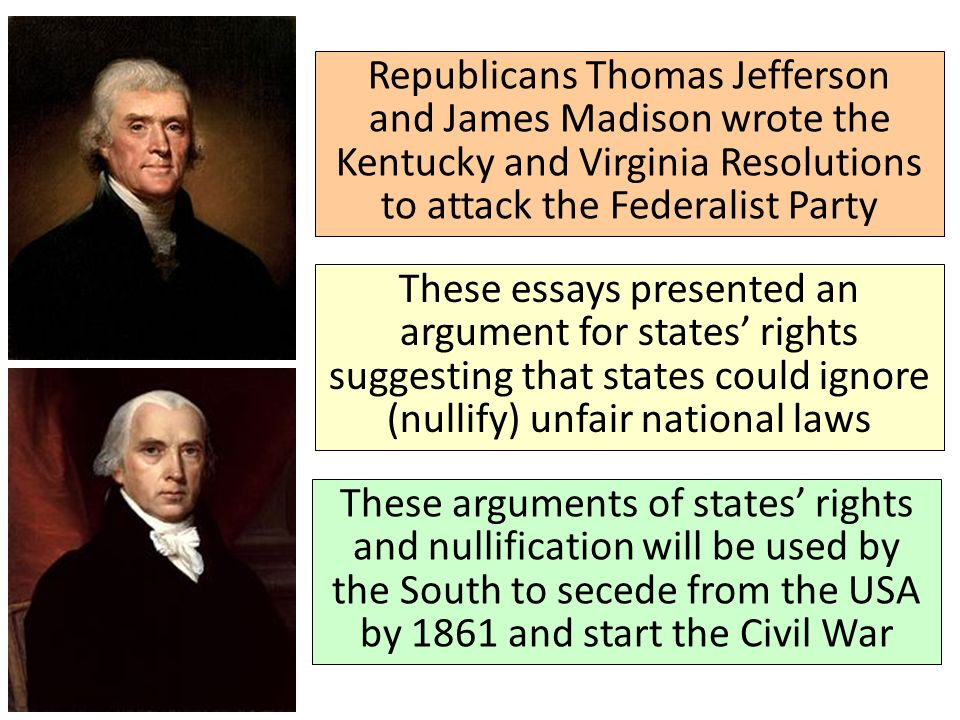 an overview of the virginia and kentucky resolutions by thomas jefferson and james madison Resolutions of virginia and kentucky, penned by madison and jefferson, in relation to the alien and sedition laws and the debates and proceedings in the house of delegates of virginia, on the same, in december, 1798.