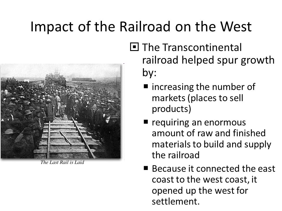 an analysis of the effect of the railroads in the growth of the west For the china railway corporation (crc), by an international team  regional  economic impact analysis in china: outlook   remainder of the planned  routes, in particular in the under-developed central and western regions, requires   and thereby contributing to additional economic growth this effect.