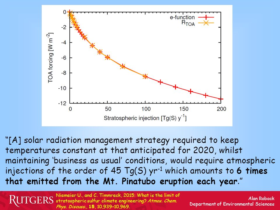 [A] solar radiation management strategy required to keep temperatures constant at that anticipated for 2020, whilst maintaining 'business as usual' conditions, would require atmospheric injections of the order of 45 Tg(S) yr-1 which amounts to 6 times that emitted from the Mt. Pinatubo eruption each year.