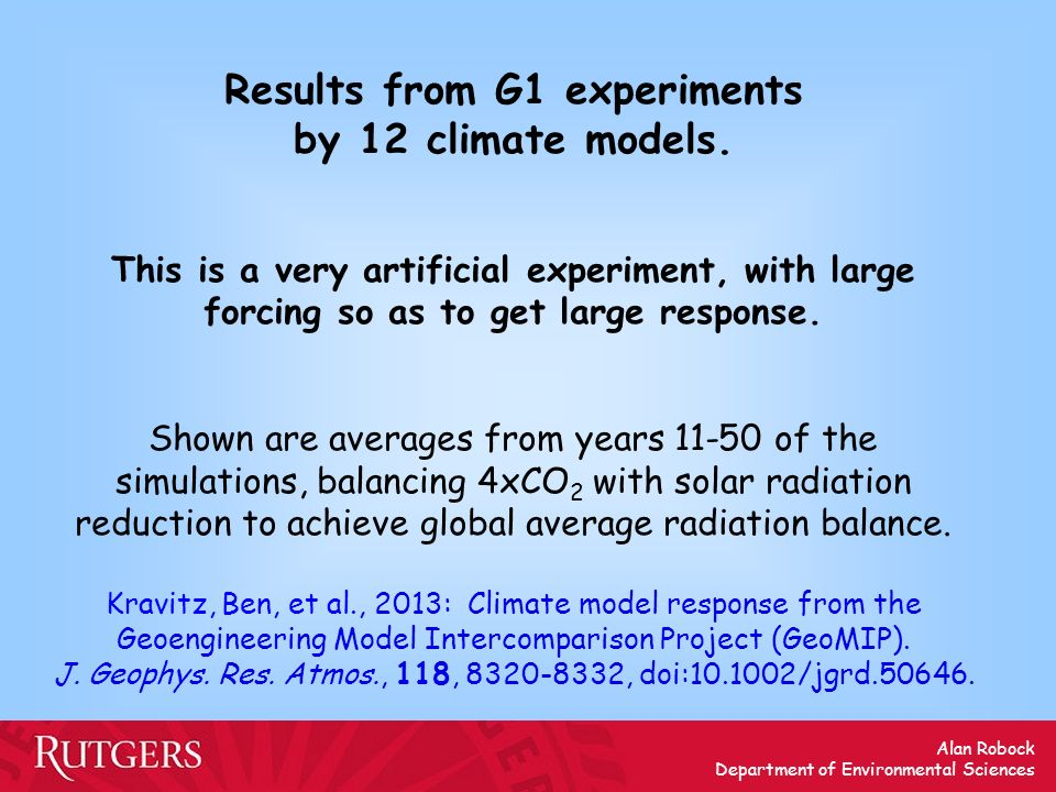 Results from G1 experiments by 12 climate models.
