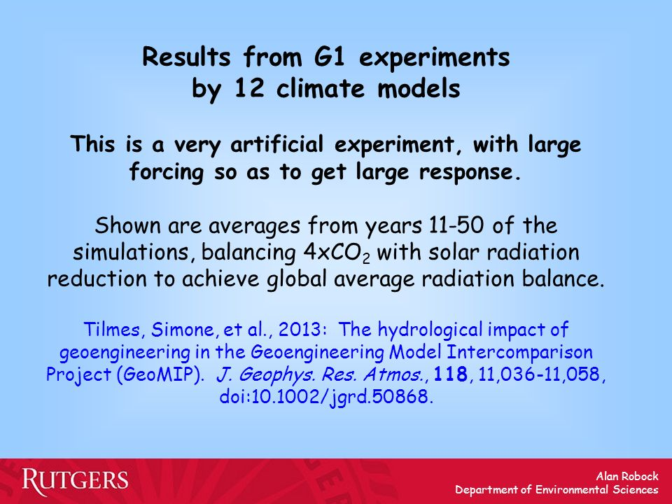 Results from G1 experiments by 12 climate models