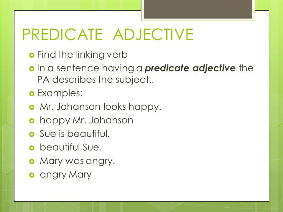 Printable Worksheets predicate adjectives worksheets : GRAMMAR REVIEW Direct Objects Indirect Objects Predicate Adjective ...