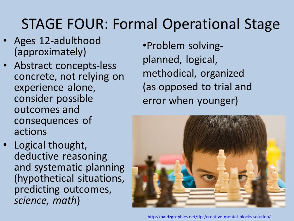 formal operational stage Module 2 - concrete and formal reasoning workshop materials - college teaching and the at the concrete operational stage, some formal schemes may be.