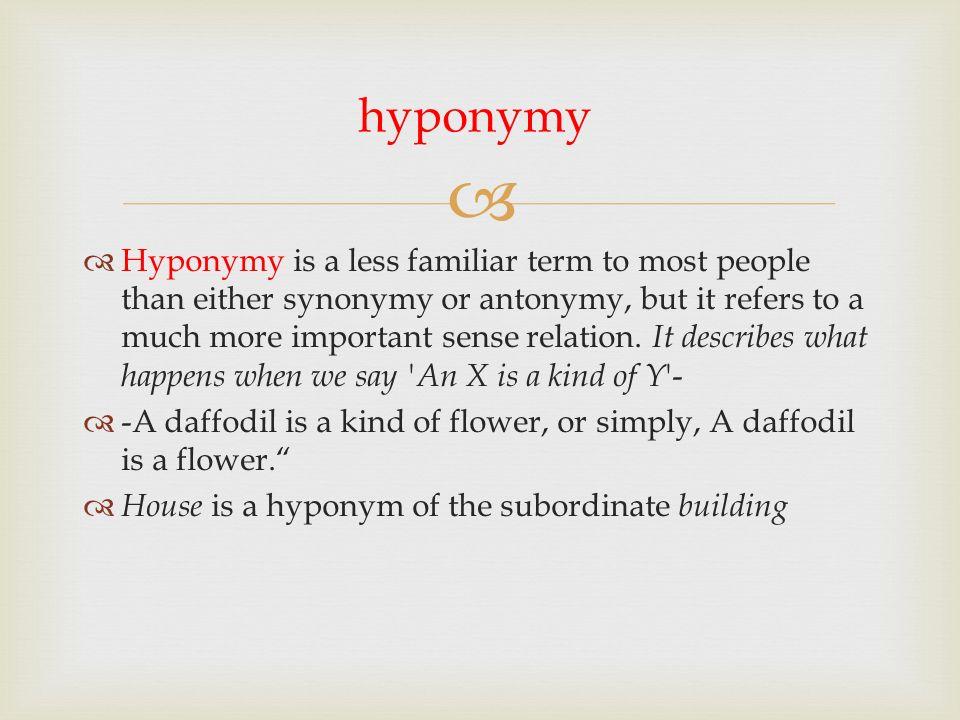 an analysis of hyponymy meronymy 13 semantics (synonym, antonym, homonym, hyponym, polyseme, idioms)  hyponymy hyponymy is the state or phenomenon that shows the relationship between more general .