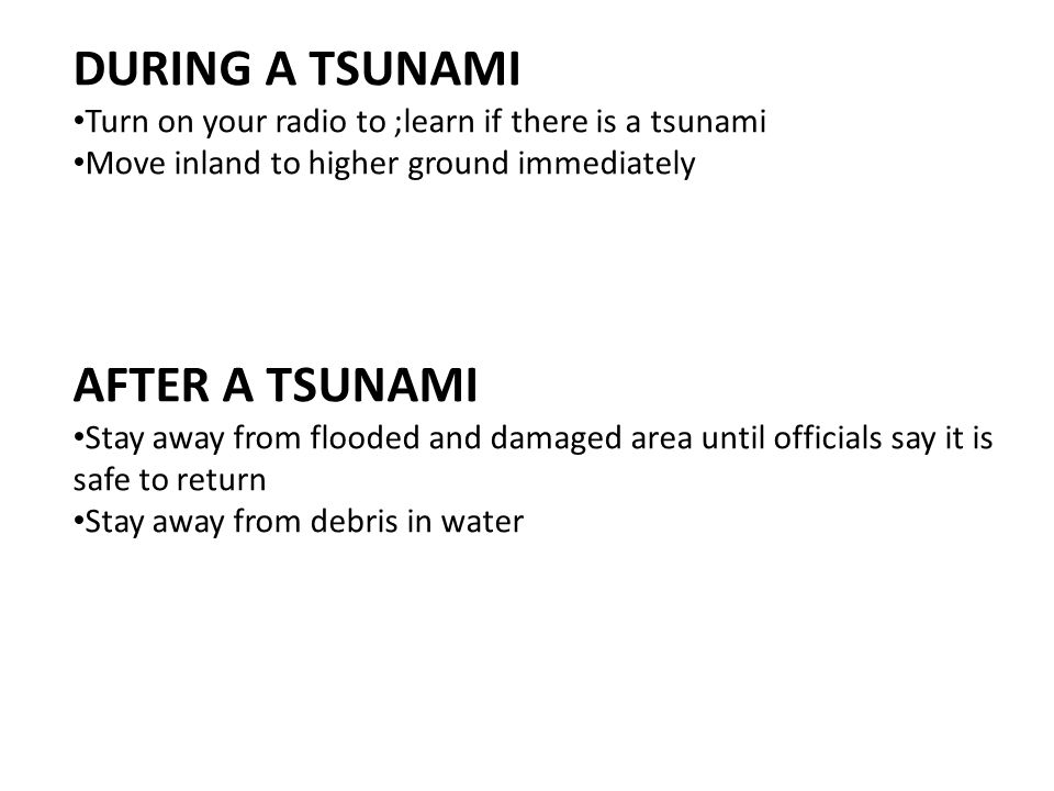 DURING A TSUNAMI AFTER A TSUNAMI