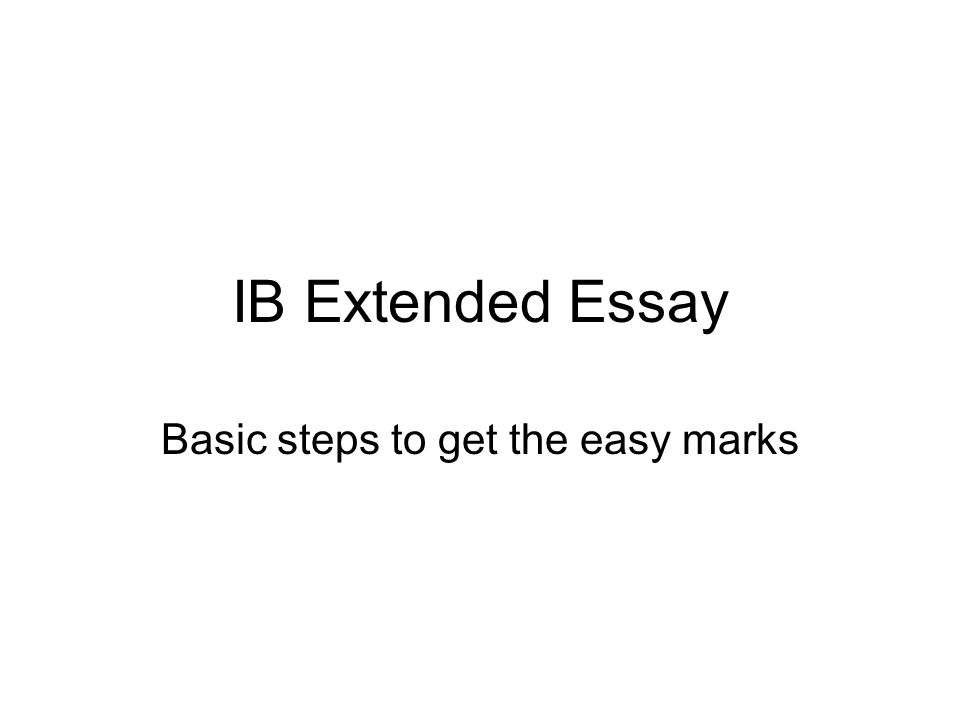 Extended Essay: Step Draft a Research Question