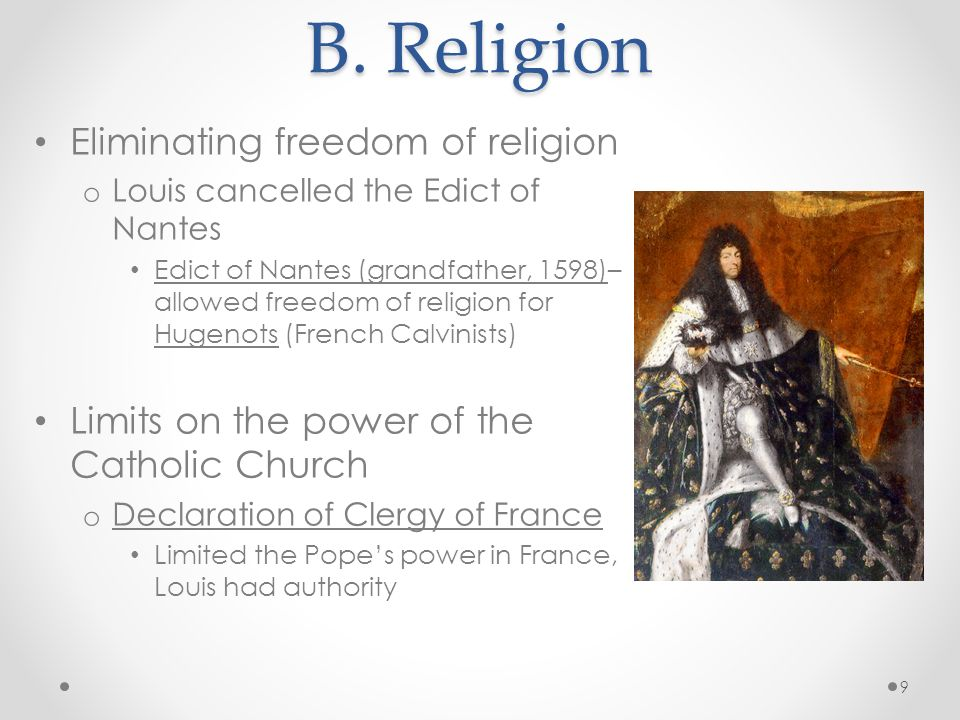B. Religion Eliminating freedom of religion