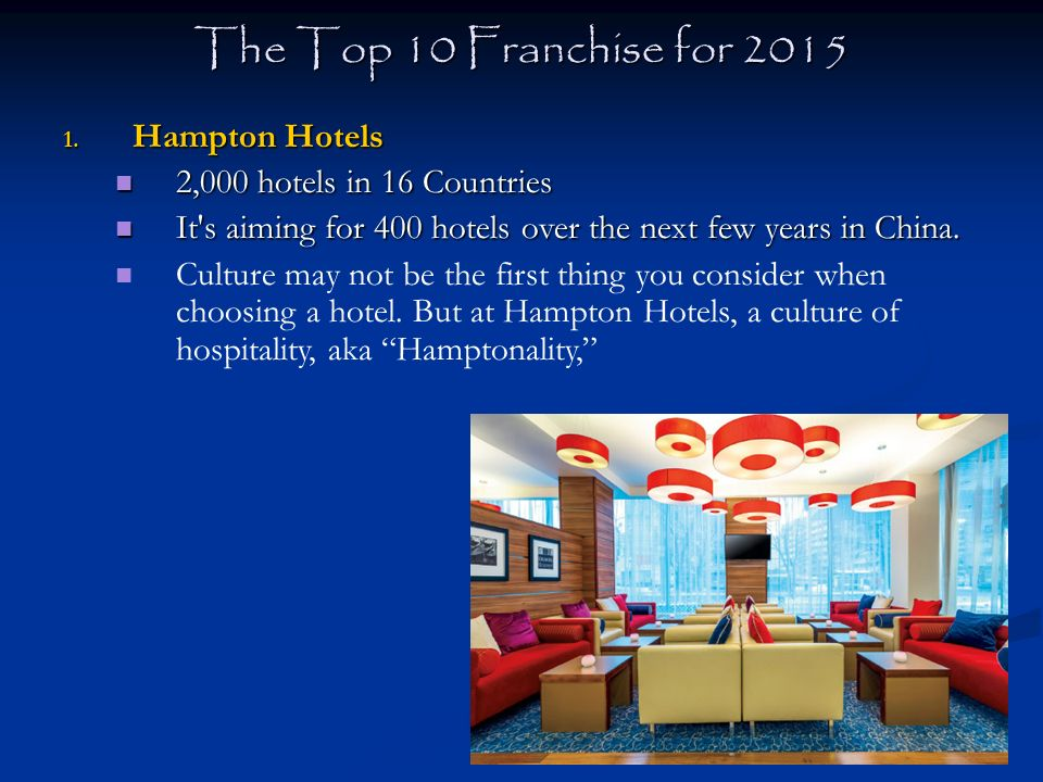 The Top 10 Franchise For 2017 Hampton Hotels