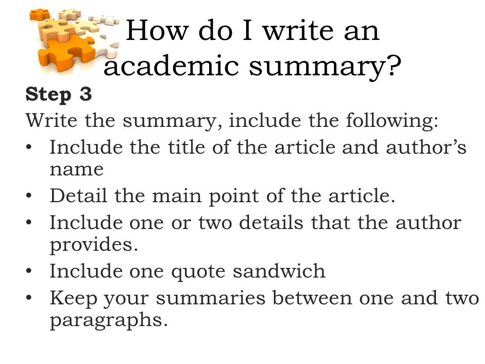 how to write a summary step by step
