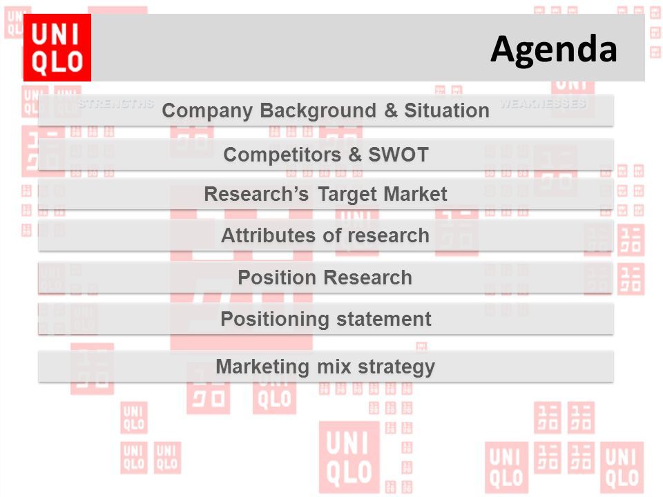 marketing analysis uniqlo For instance, twitter and facebook are the main social media platforms that uniqlo uses to engages its customers in the uk and us because market research has shown that these are the two.