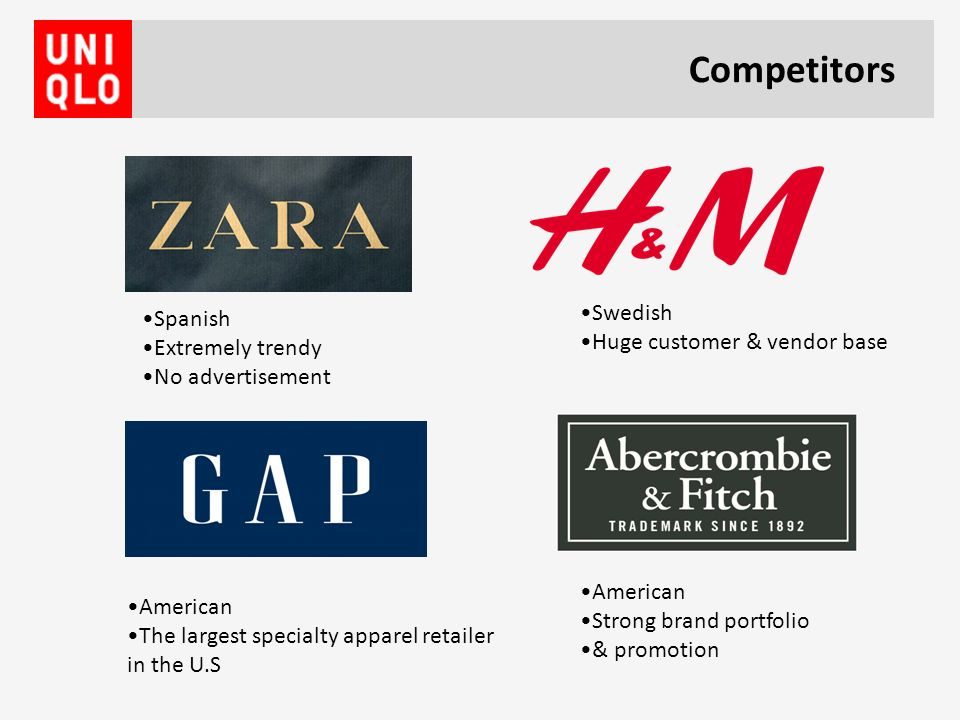 fashion brand competitor analysis Male, female, kids fast fashion (up-to-the minute trending wear produced in weeks) designer style at non-designer prices.
