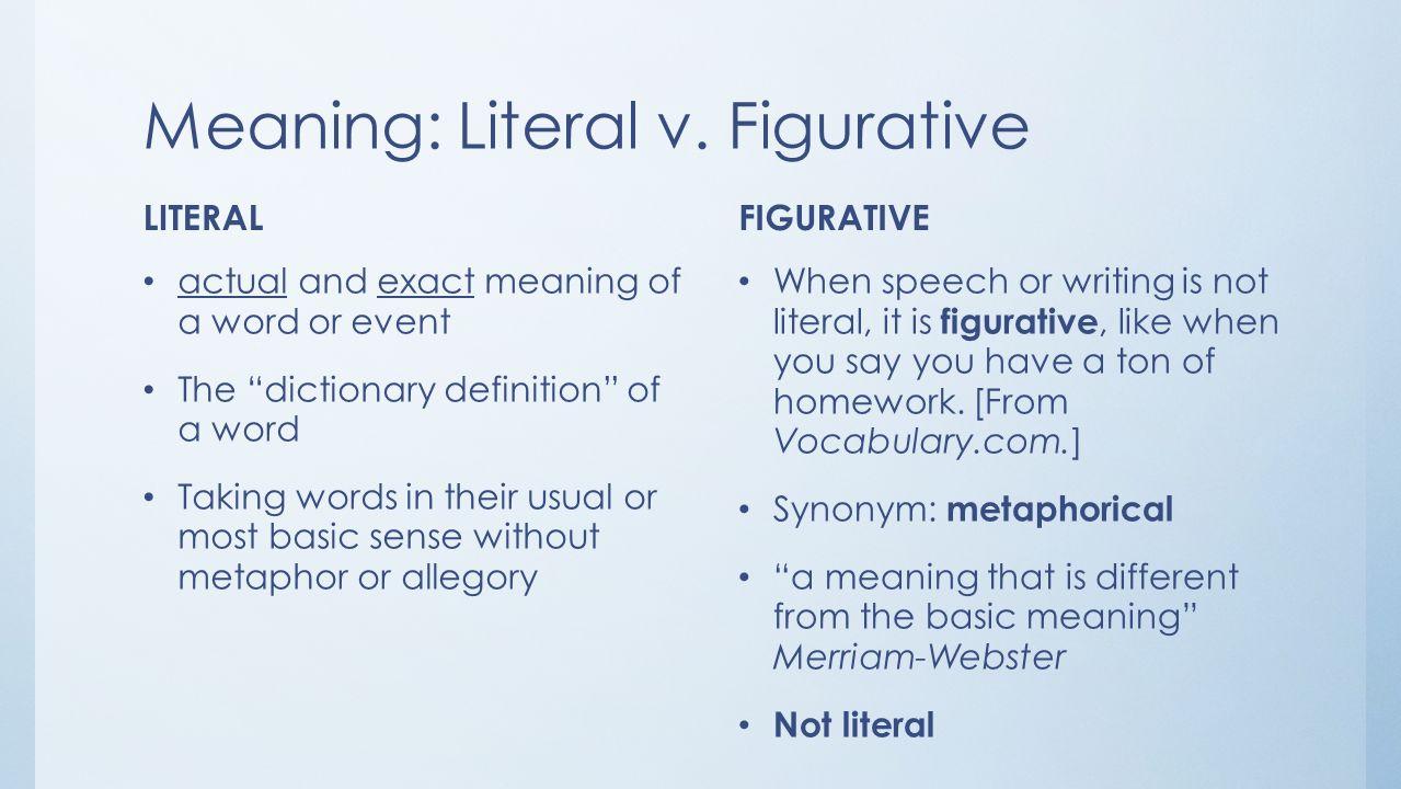 Figurative Language Dictionary Definition Figurative