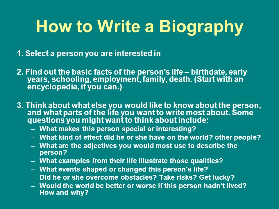 how to write biography An academic biography is a concise description of a researcher and his career which is mostly used as an introduction to a conference or public event this article discusses some important tips on writing an academic bio.