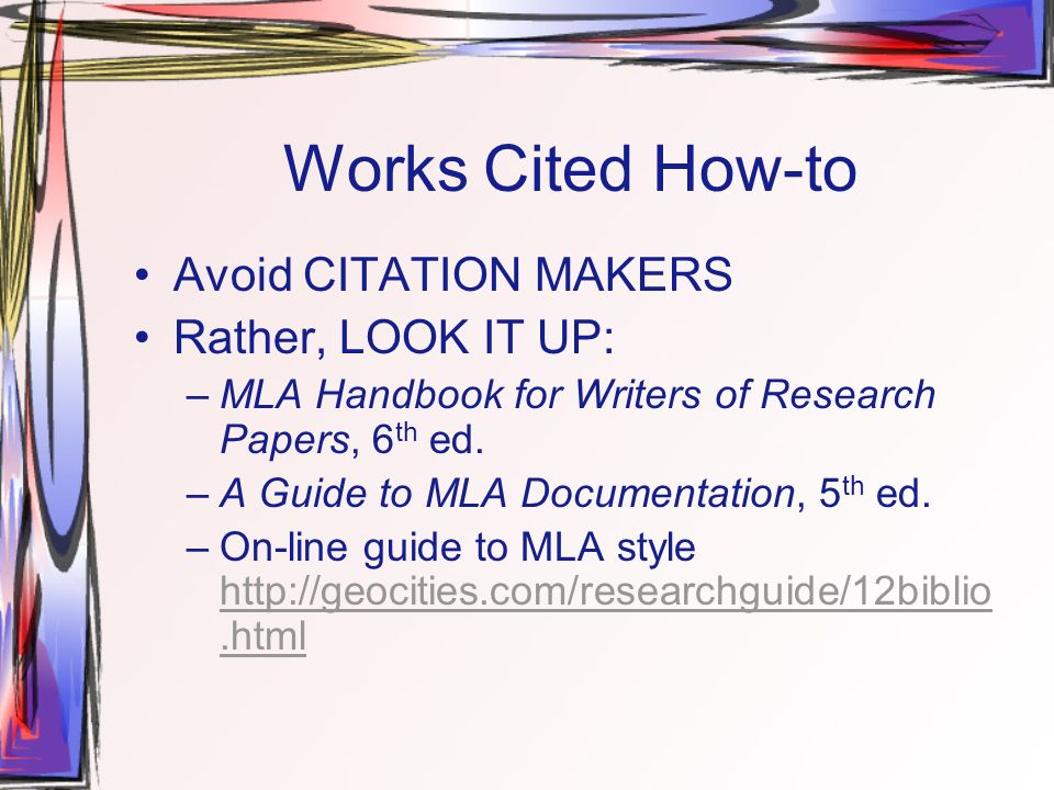 How to cite mla handbook for writers of research papers