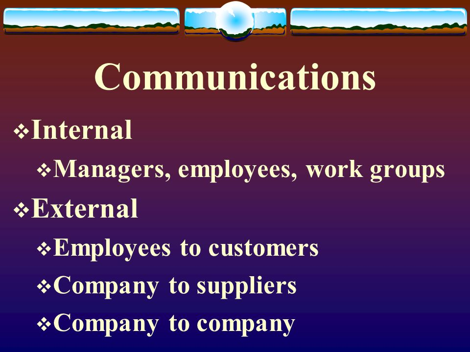 Communications Internal External Managers, employees, work groups
