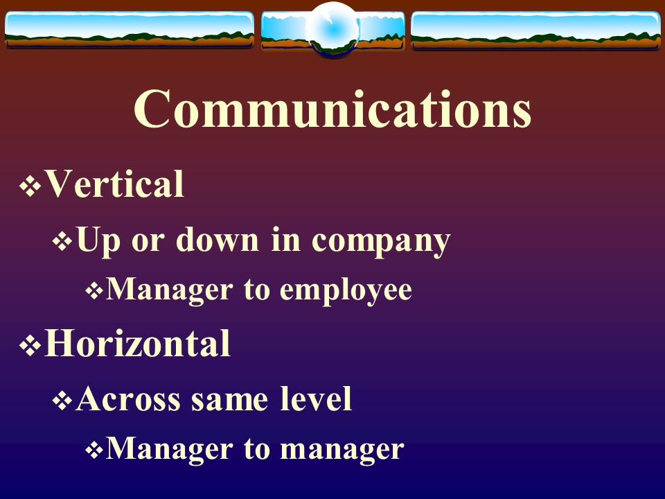 Communications Vertical Horizontal Up or down in company