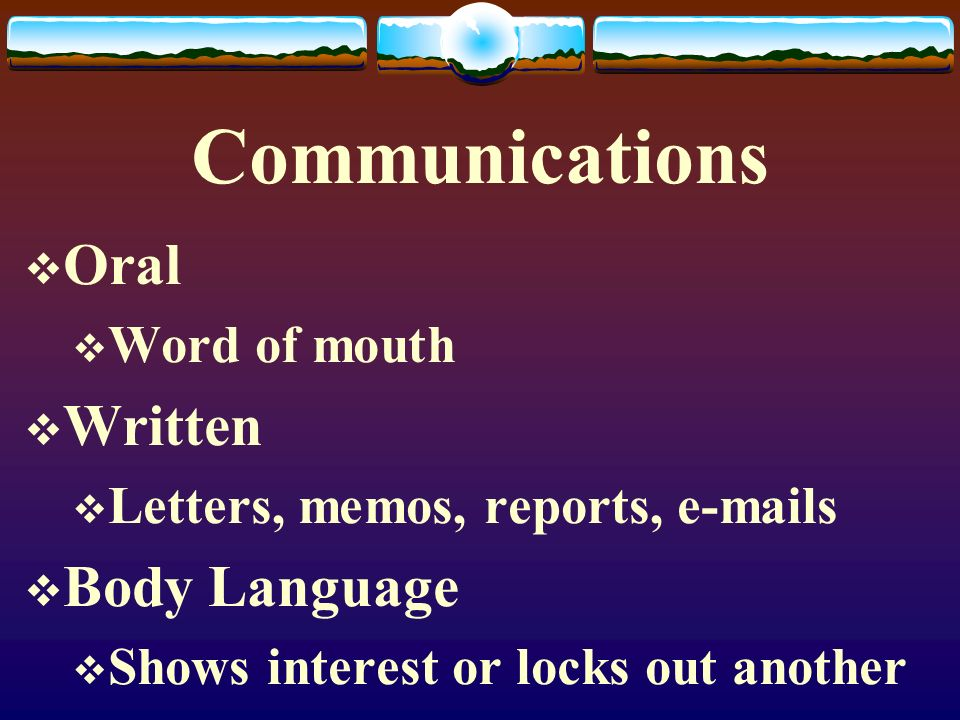 Communications Oral Written Body Language Word of mouth
