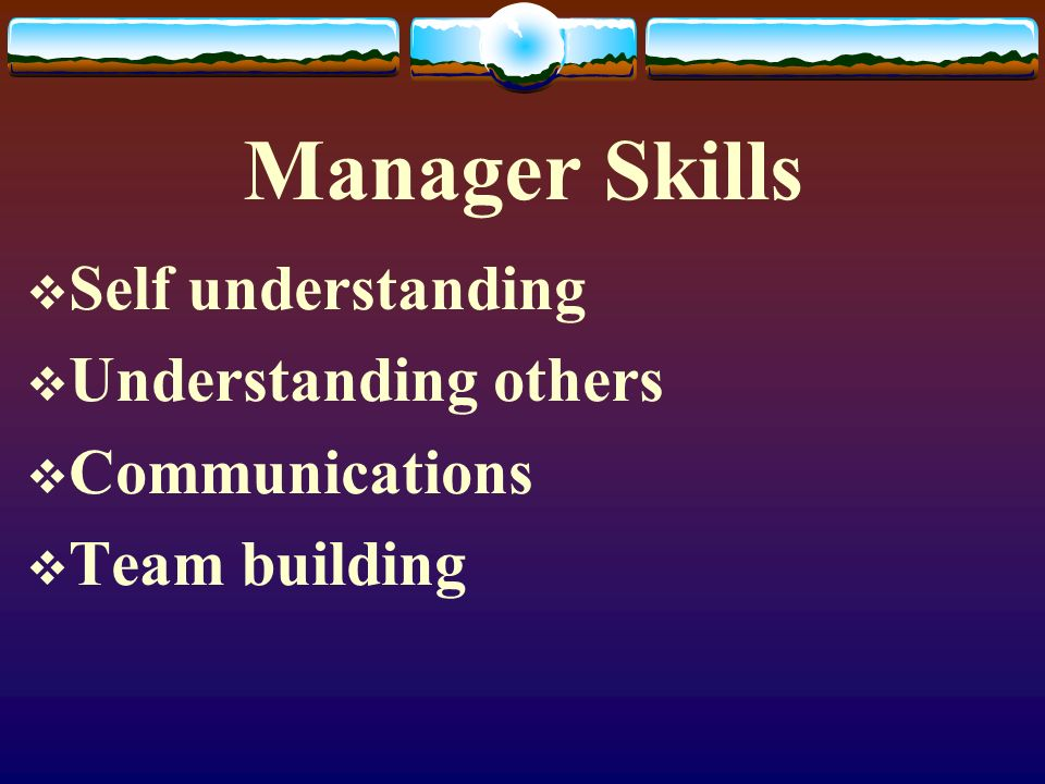 Manager Skills Self understanding Understanding others Communications