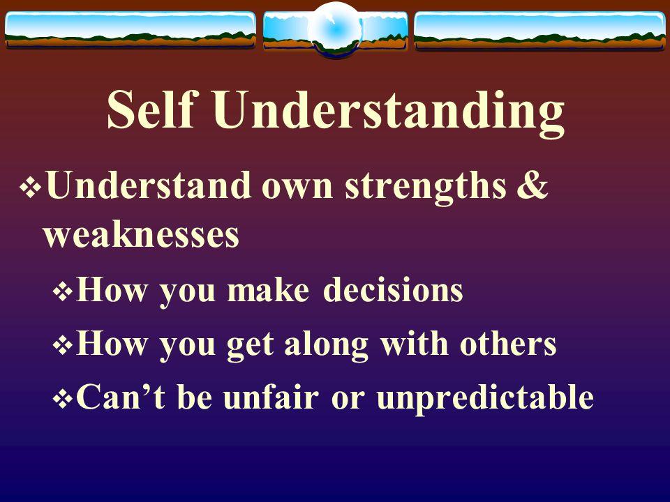Self Understanding Understand own strengths & weaknesses