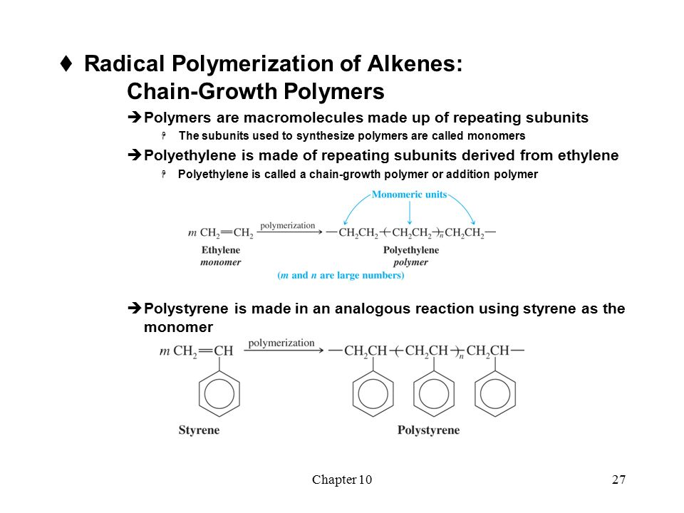 free radical polymerization of styrene using Substituent group — for example, styrene — can be polymerized by more than  one  the initiation step in free-radical polymerization in the presence of thermal .