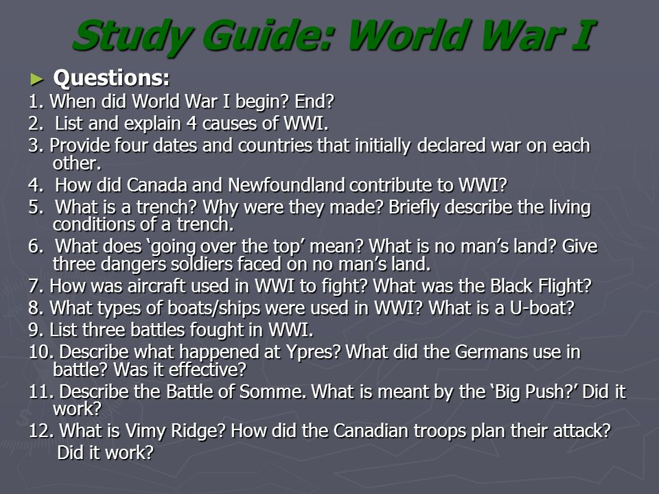 World War One • Definition of War/Countries Involved - ppt ...