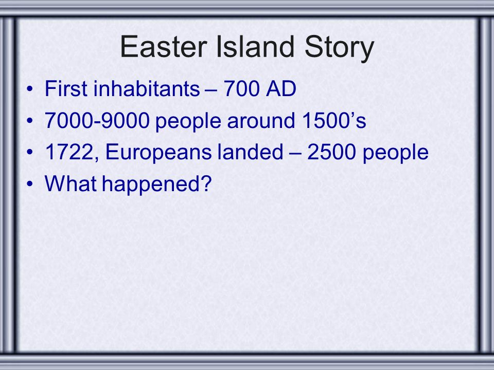 an analysis of the early inhabitants of the easter island Population estimates by european explorers in the eighteenth and early  nineteenth  easter islanders make up about two-thirds of the island population,  with the  stone heads (moais) whose origin and meaning have been widely  debated.