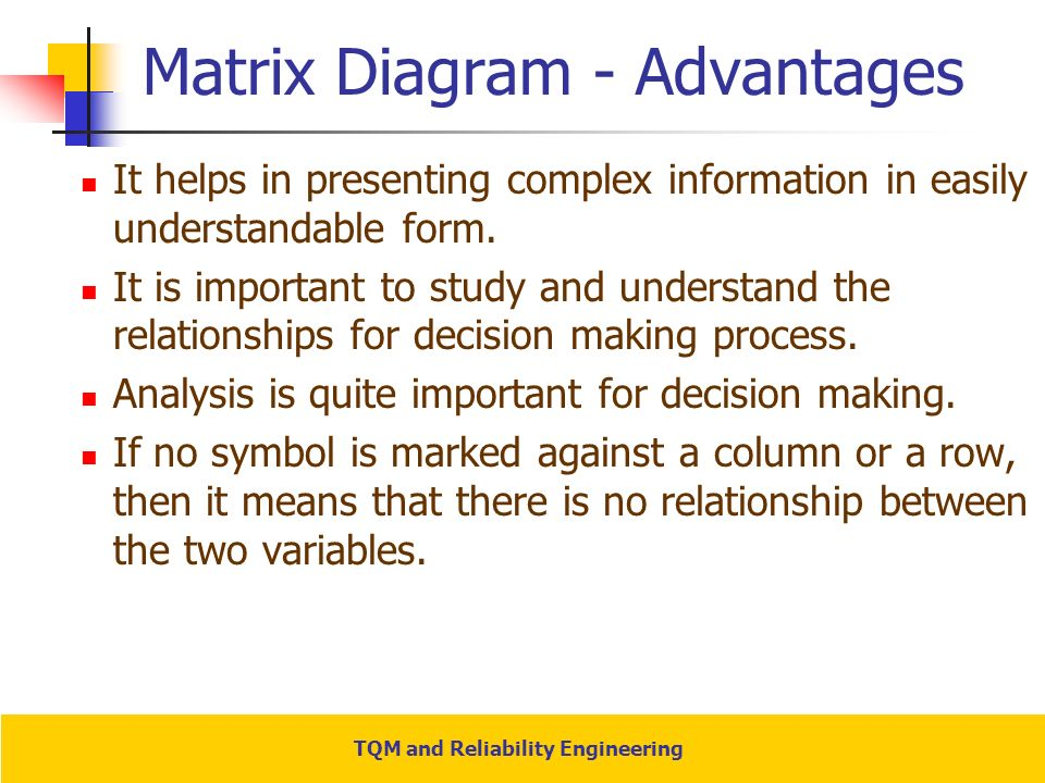 Tqm and reliability engineering ppt video online download matrix diagram advantages ccuart Gallery