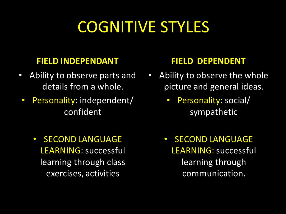 cognitive style and learning style Simply put, styles are not how much intelligence we have, but how we use these  styles when talking about learning styles, the term cognitive.
