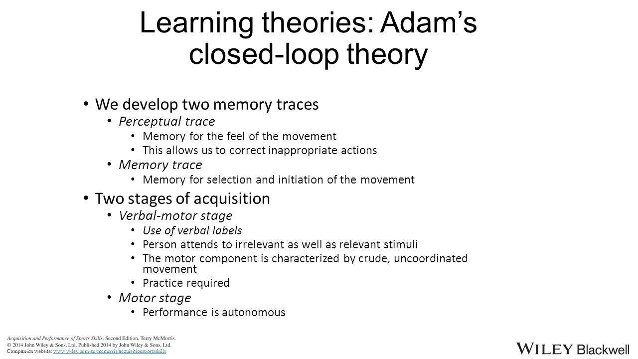 schmidt s schema theory of motor learning Motor learning - schema theory was extended to schema theory of discrete motor learning in 1975 by richard schmidt 13.