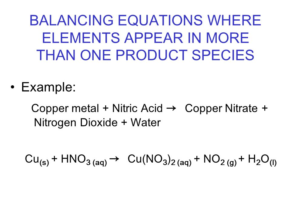 Balancing Equations Where Elements Appear In More Than One Product