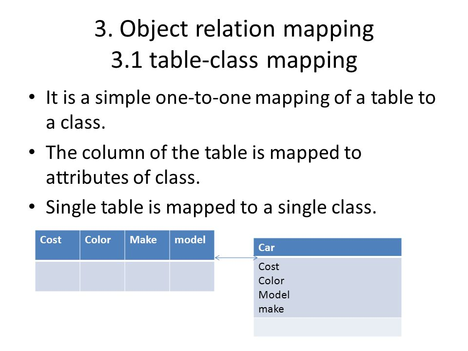 3. Object relation mapping 3.1 table-class mapping