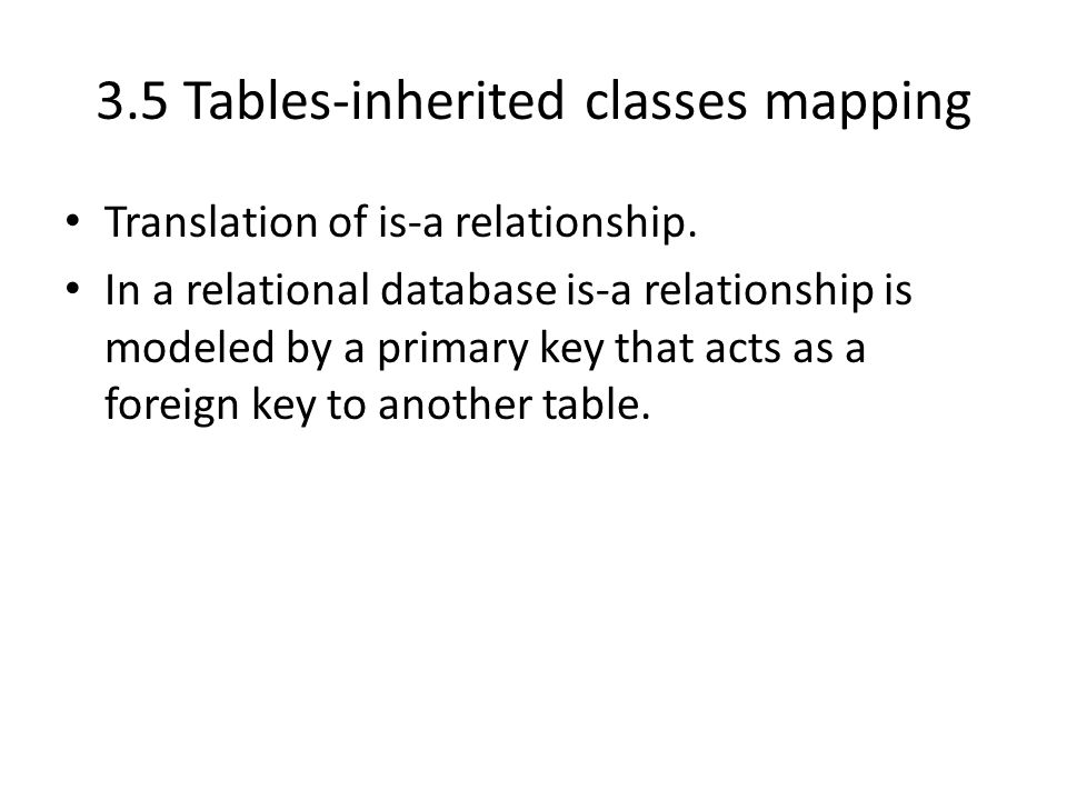 3.5 Tables-inherited classes mapping