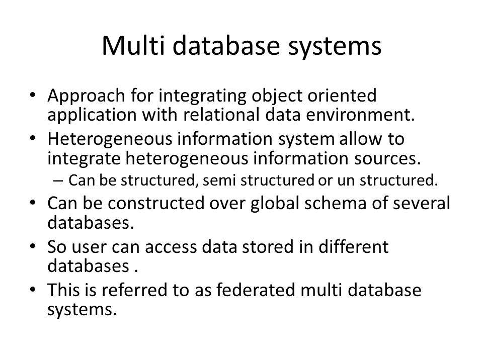 Multi database systems