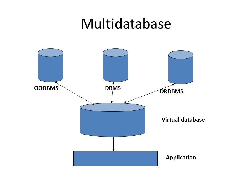 Multidatabase OODBMS DBMS ORDBMS Virtual database Application