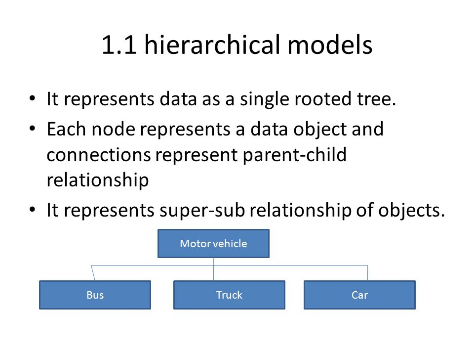 1.1 hierarchical models It represents data as a single rooted tree.