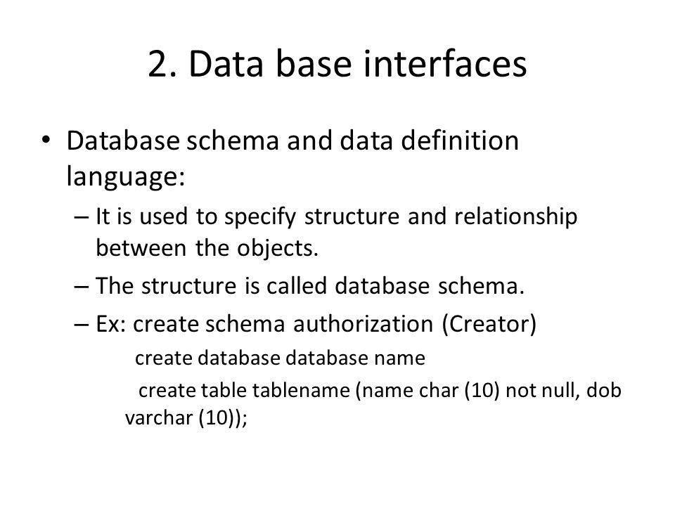 2. Data base interfaces Database schema and data definition language: