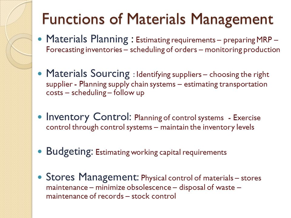 Materials Management Ppt Video Online Download