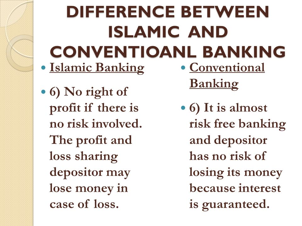 conventional banking principles Islamic banking, conventional banking, banks financial performance measures,  profitability  egypt abstract  a summary of islamic banking principles and.