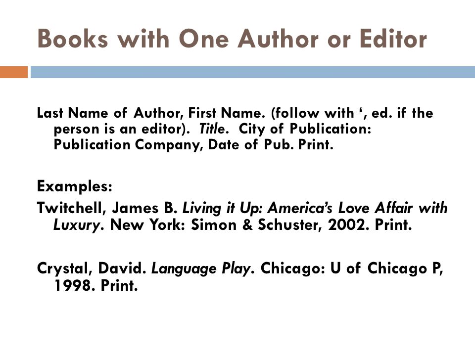 apa format for book with one author