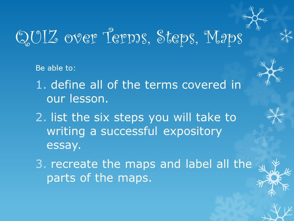 expository essay writing workshop ppt  quiz over terms steps maps