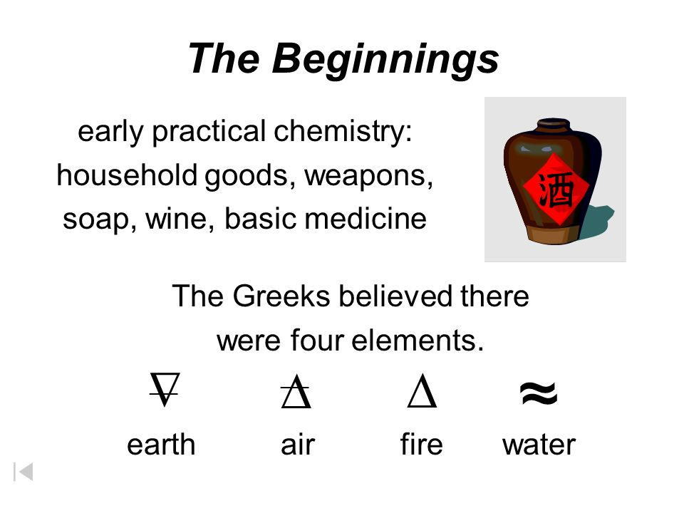 The Greeks believed there were four elements.