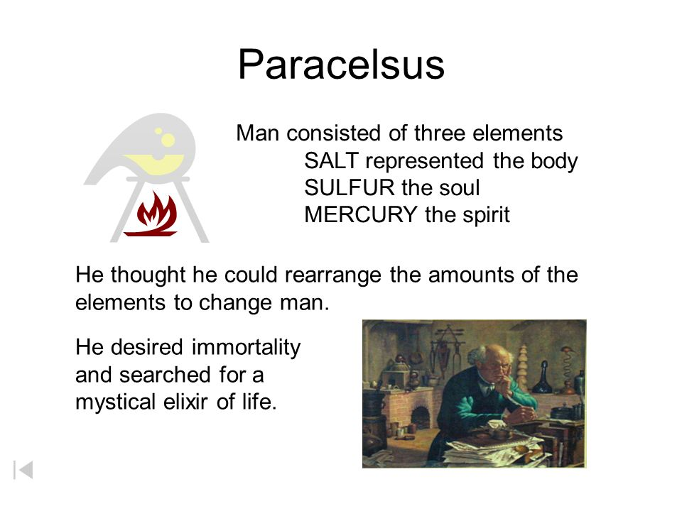 Paracelsus Man consisted of three elements SALT represented the body