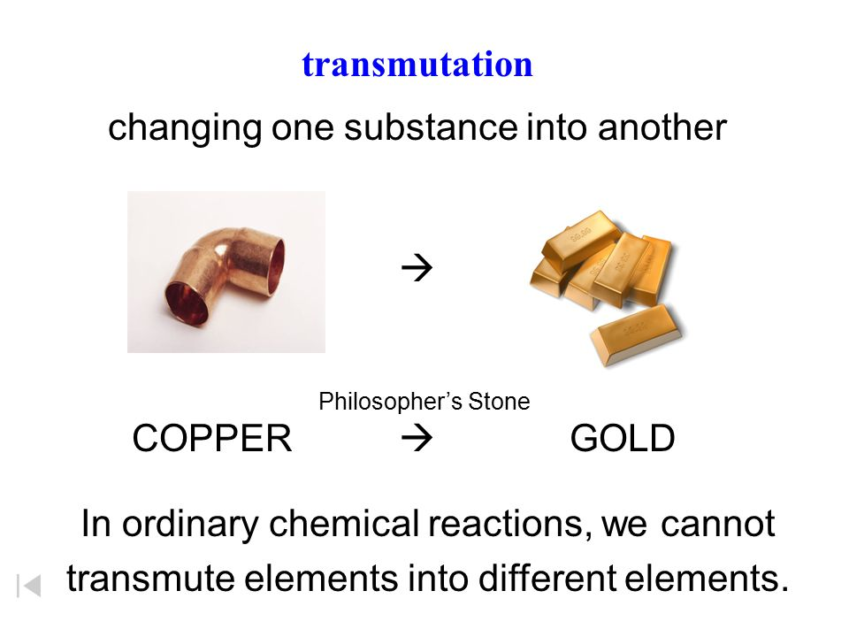 changing one substance into another