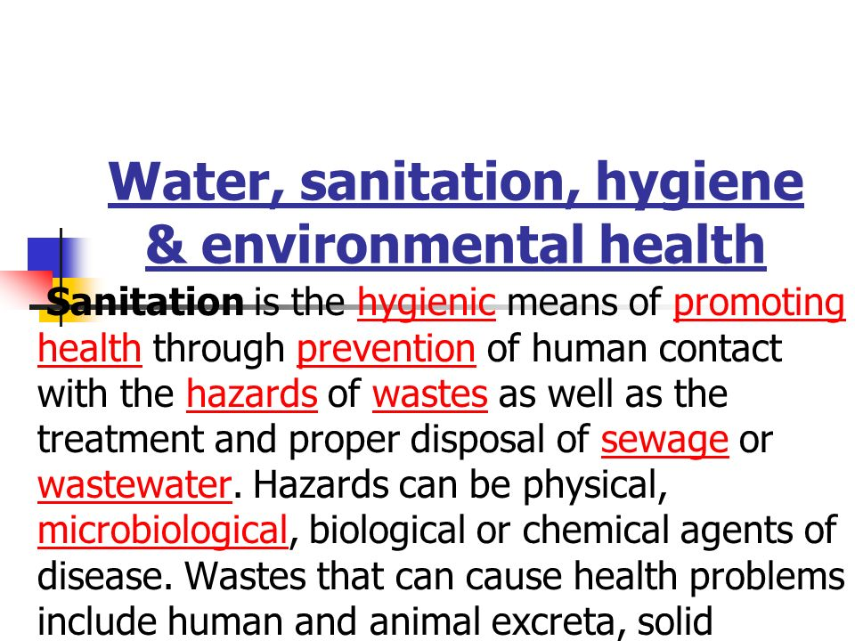 water environment and sanitation Sanitation as a key to global health: voices from the field united nations university, institute for water, environment and health.