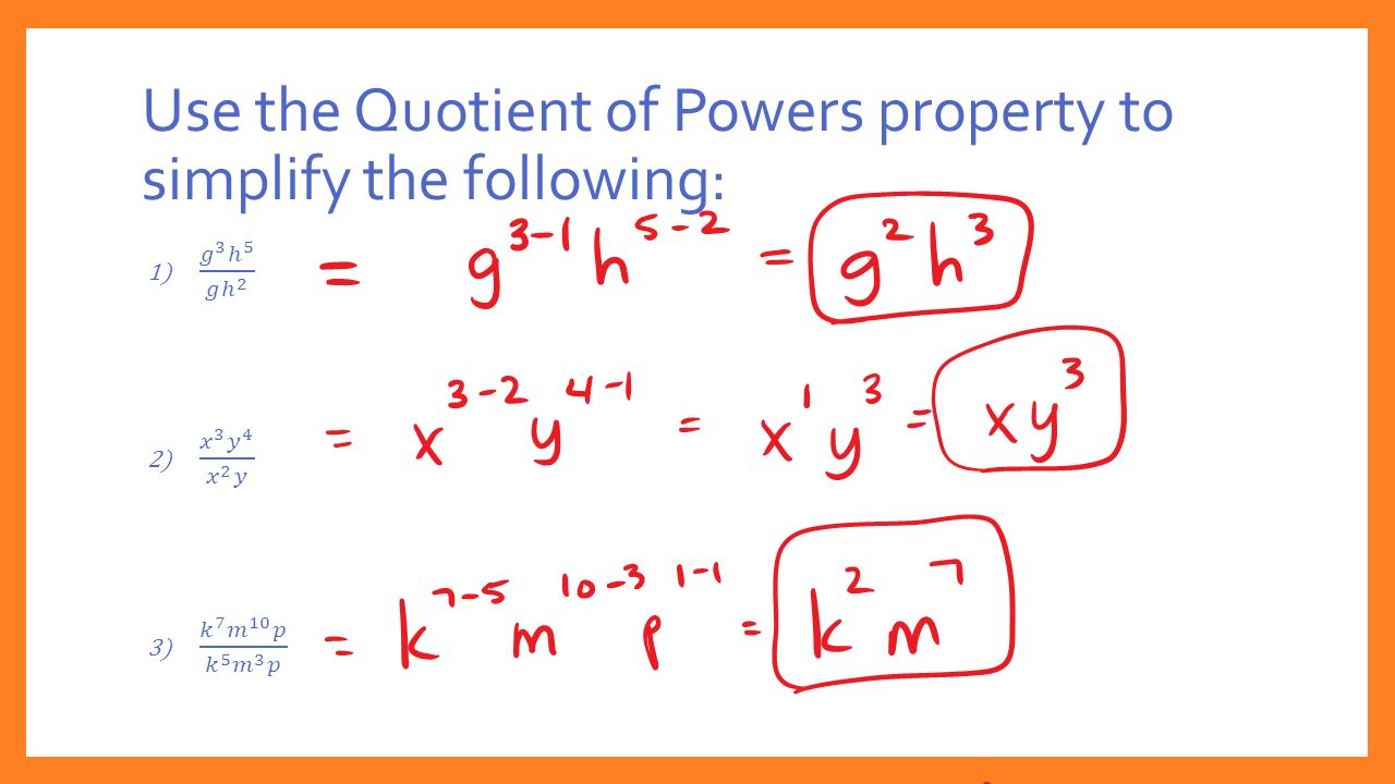 Use the Quotient of Powers property to simplify the following: