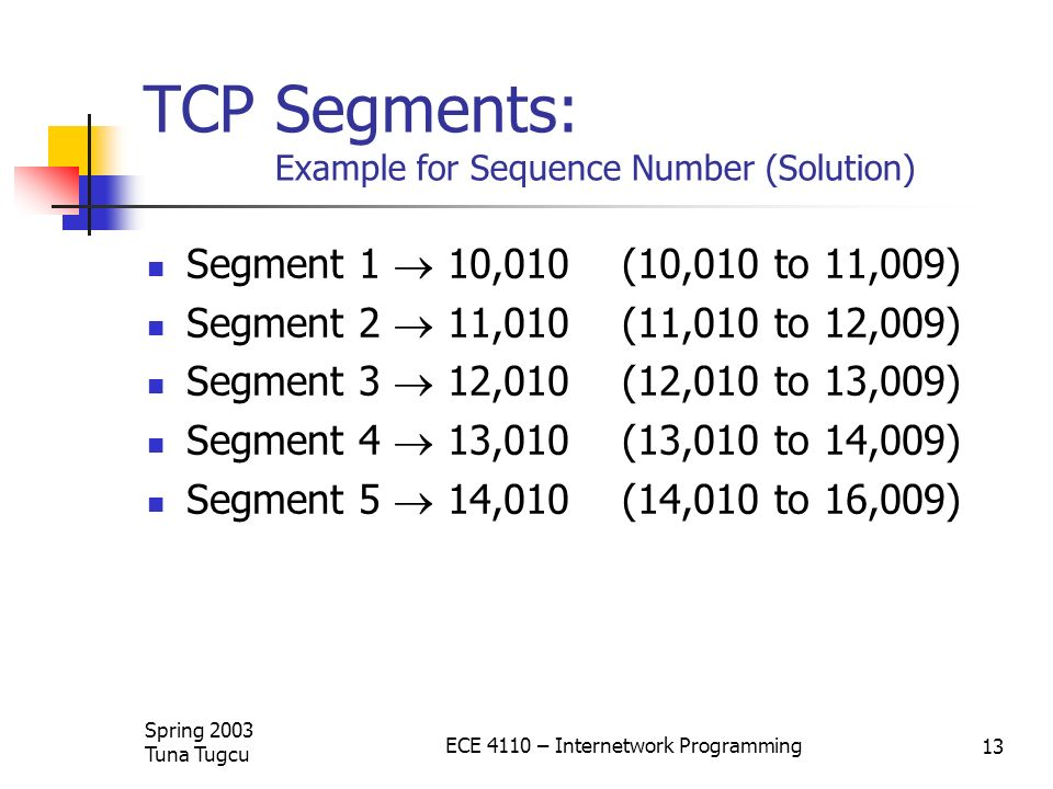 TCP Segments: Example for Sequence Number (Solution)