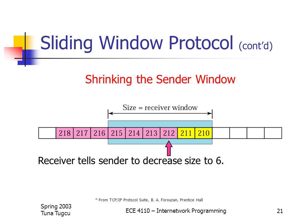 Sliding Window Protocol (cont'd)