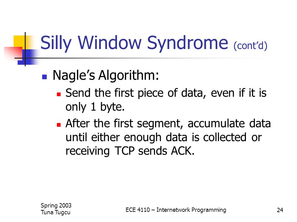 Silly Window Syndrome (cont'd)