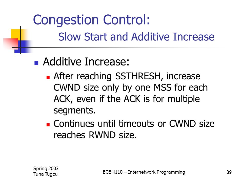 Congestion Control: Slow Start and Additive Increase